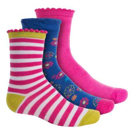 Stride Rite Mixed Socks - 3-Pack, Crew (For Little Girls) in Floral/Pink Stripe/Pink - Closeouts