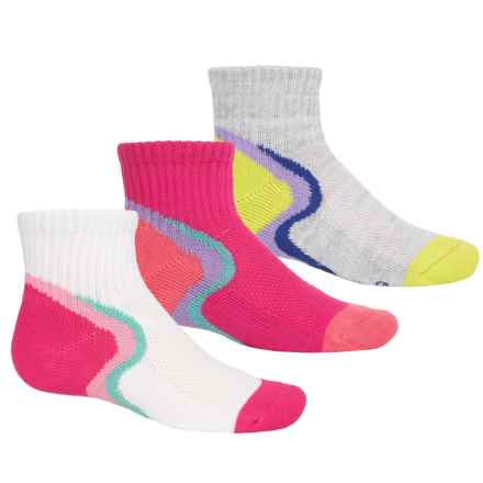 Stride Rite Sport Low Socks - 3-Pack, Quarter Crew (For Girls) in Pink/Lime/Orange - Closeouts