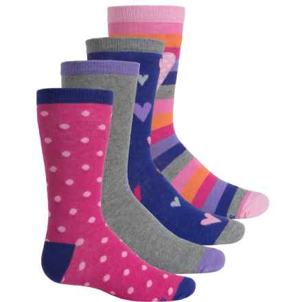 Stride Rite Susie Hearts Socks - 4-Pack, Crew (For Little and Big Girls) in Pink/Purple/Grey Multi - Closeouts