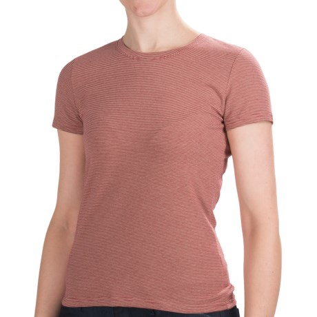 Stripe Cotton Shirt - Short Sleeve (For Women) in Red