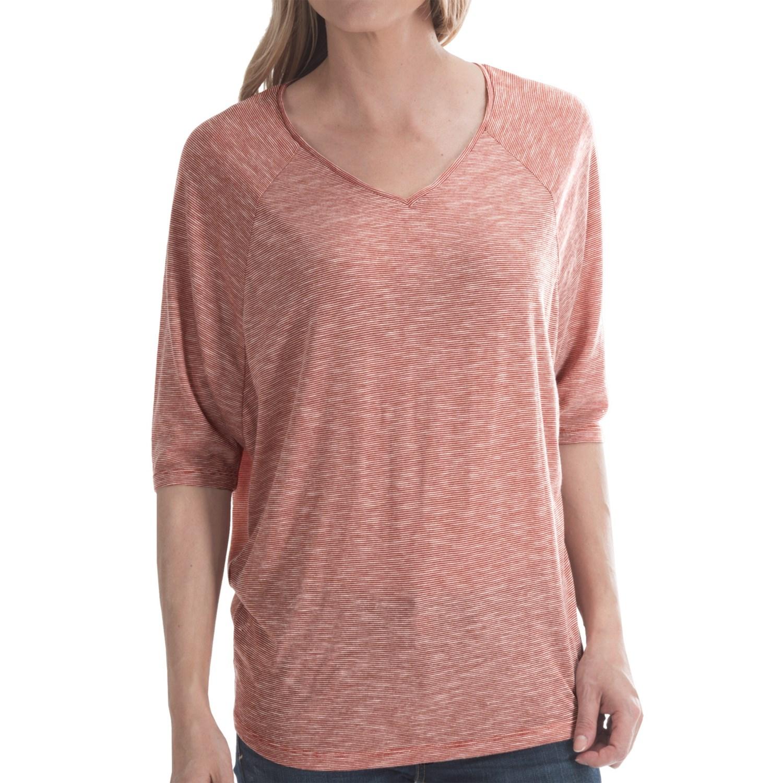 Stripe slub shirt short sleeve for women in orange white for What is a slub shirt