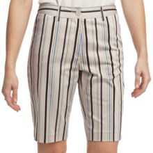 Striped Bermuda Shorts - Stretch Cotton Sateen (For Women) in Beige/Brown - 2nds