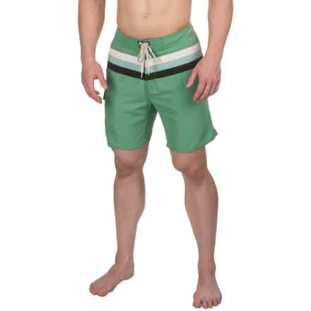 Striped Boardshorts - 3-Pocket (For Men) in Malachite Green - 2nds