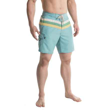 Striped Boardshorts - 3-Pocket (For Men) in Stone Blue - 2nds