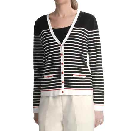 Striped Cardigan Sweater (For Women) in Black/White/Red - 2nds