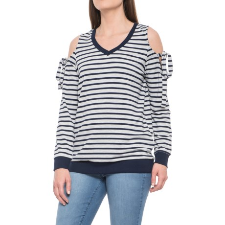 Striped Cold-Shoulder Shirt - V-Neck, Long Sleeve (For Women)