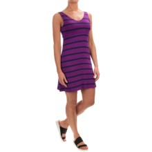 Striped Cotton Double-V Dress - Sleeveless (For Women) in Purple - Closeouts