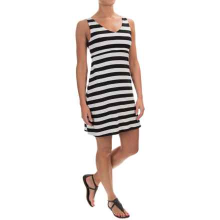 Striped Cotton Double-V Dress - Sleeveless (For Women) in White - Closeouts