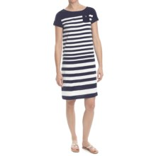 Striped Cotton Jersey Knit Dress - Short Sleeve (For Women) in White/Navy - 2nds