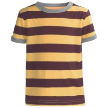 Striped Cotton Jersey T-Shirt - Crew Neck, Short Sleeve (For Toddlers Boys) in Plum/Yellow - 2nds