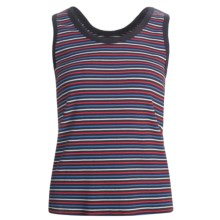 Striped Cotton Tank Top - Scoop Neck (For Women) in Navy/Red/White - 2nds