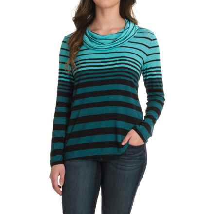 Striped Cowl Neck Shirt - Long Sleeve (For Women) in Blue - 2nds