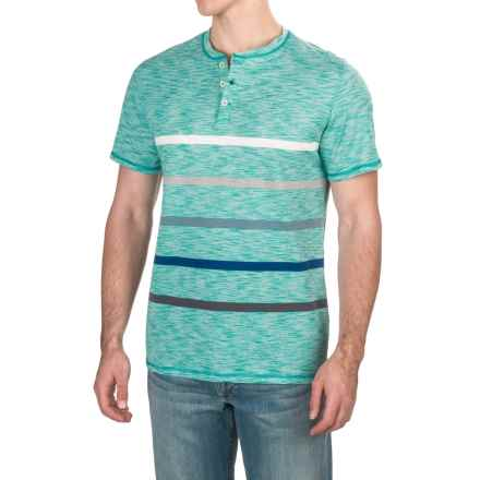 Striped Henley T-Shirt - Short Sleeve (For Men) in Seafoam - 2nds