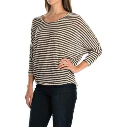 Striped High-Low Shirt - Dolman Elbow Sleeve (For Women) in Cream/Black Stripe - 2nds