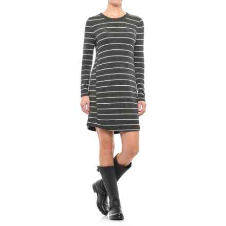Striped Jersey Dress - Long Sleeve (For Women) in Grey Stripe - 2nds