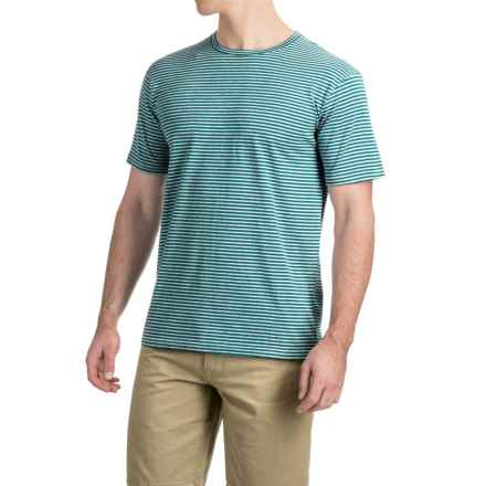 Striped Knit T-Shirt - Short Sleeve (For Men) in Blue Green/Grey Heather - 2nds