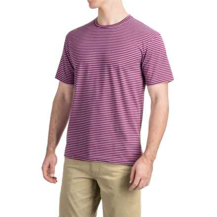 Striped Knit T-Shirt - Short Sleeve (For Men) in Plum/Lilac - 2nds