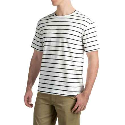 Striped Knit T-Shirt - Short Sleeve (For Men) in White/Black - 2nds