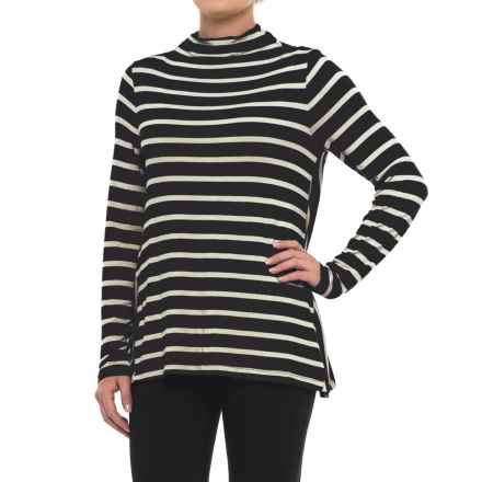 Striped Mock Neck Shirt - Long Sleeve (For Women) in Black - 2nds