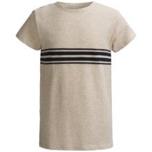 Striped Oversize Pique T-Shirt - Short Sleeve (For Youth) in Beige W/Navy Stripes - 2nds