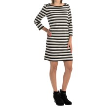 Striped Rayon-Blend Dress - 3/4 Sleeve (For Women) in Black/White - 2nds