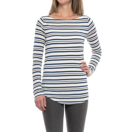 Striped Rayon Shirt - Long Sleeve (For Women) in White/Blue/Navy Stripe
