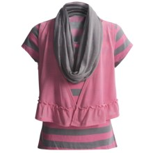 Striped Shirt and Scarf Set - Short Sleeve (For Girls) in Pink/Grey - 2nds