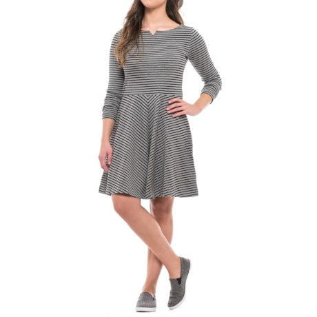 Striped Stretch Cotton Dress - Long Sleeve (For Women) in Grey Heather/Black