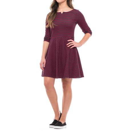 Striped Stretch Cotton Dress - Long Sleeve (For Women)