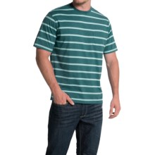 Striped T-Shirt - Short Sleeve (For Men) in Teal/Light Stripe - Closeouts