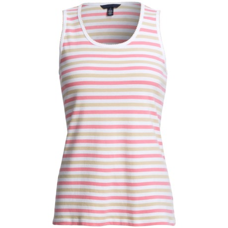 Striped Tank Top - Cotton Jersey (For Women) in Black/Blue