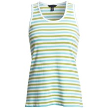 Striped Tank Top - Cotton Jersey (For Women) in Lime/Teal - 2nds