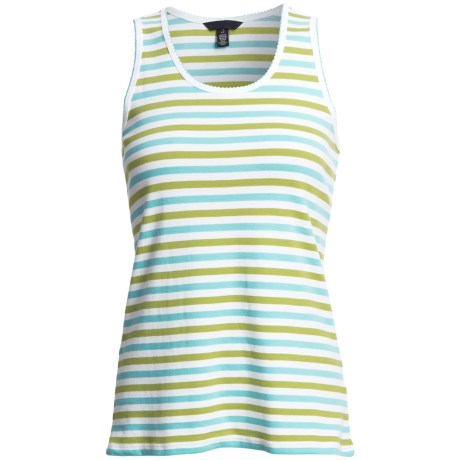 Striped Tank Top - Cotton Jersey (For Women) in Lime/Teal