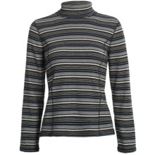 Striped Turtleneck - Long Sleeve (For Women) in Black/Grey Multi - 2nds