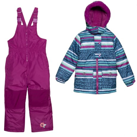 Striped Two-Piece Snowsuit Set - Insulated (For Little Girls) photo