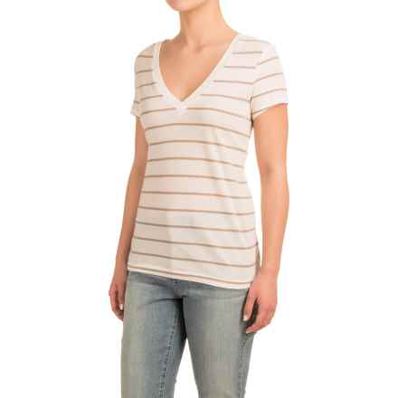 Striped V-Neck Shirt - Cotton-Modal, Short Sleeve (For Women) in Cream/Brown - 2nds