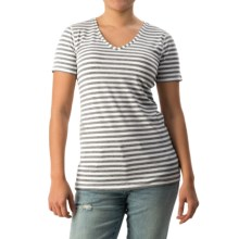 Striped V-Neck Shirt - Short Sleeve (For Women) in Grey/White - Closeouts