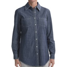 Studio Nexx Denim Tunic Shirt - Stretch Cotton, Long Sleeve (For Women) in True Blue - Closeouts