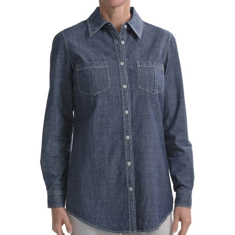 Studio Nexx Denim Tunic Shirt - Stretch Cotton, Long Sleeve (For Women) in True Blue