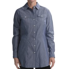 Studio Nexx Twisted Tie-Back Shirt - Stretch Cotton, Long Sleeve (For Women) in Navy Chambray - Closeouts