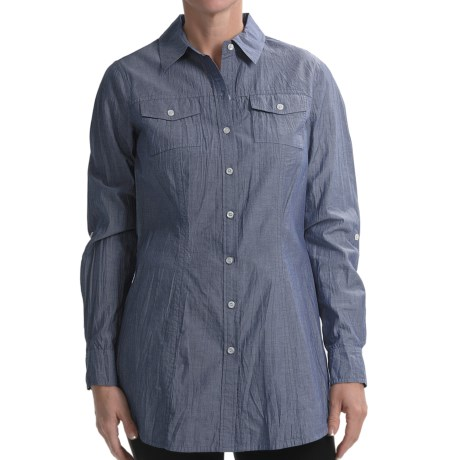 Studio Nexx Twisted Tie-Back Shirt - Stretch Cotton, Long Sleeve (For Women) in Navy Chambray