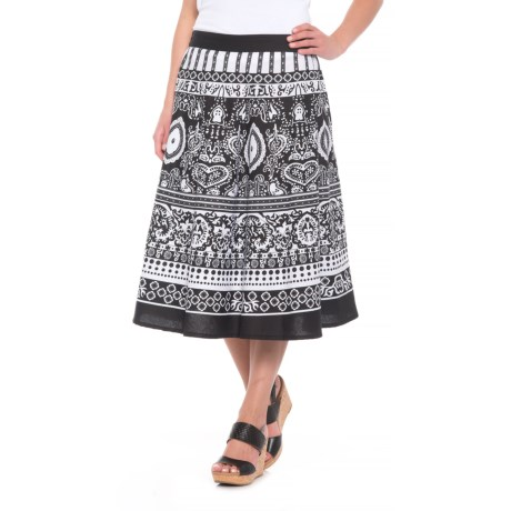 Studio West Allover Printed Skirt (For Women) in Black