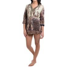 Studio West Border Print Tunic Cover-Up - 3/4 Sleeve (For Women) in Multi - Closeouts
