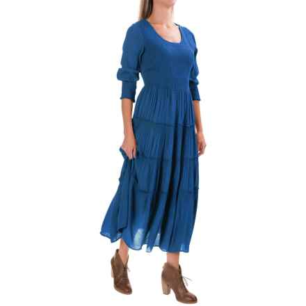 Studio West Crepe Smocked Maxi Dress - Long Sleeve (For Women) in Indigo - Closeouts