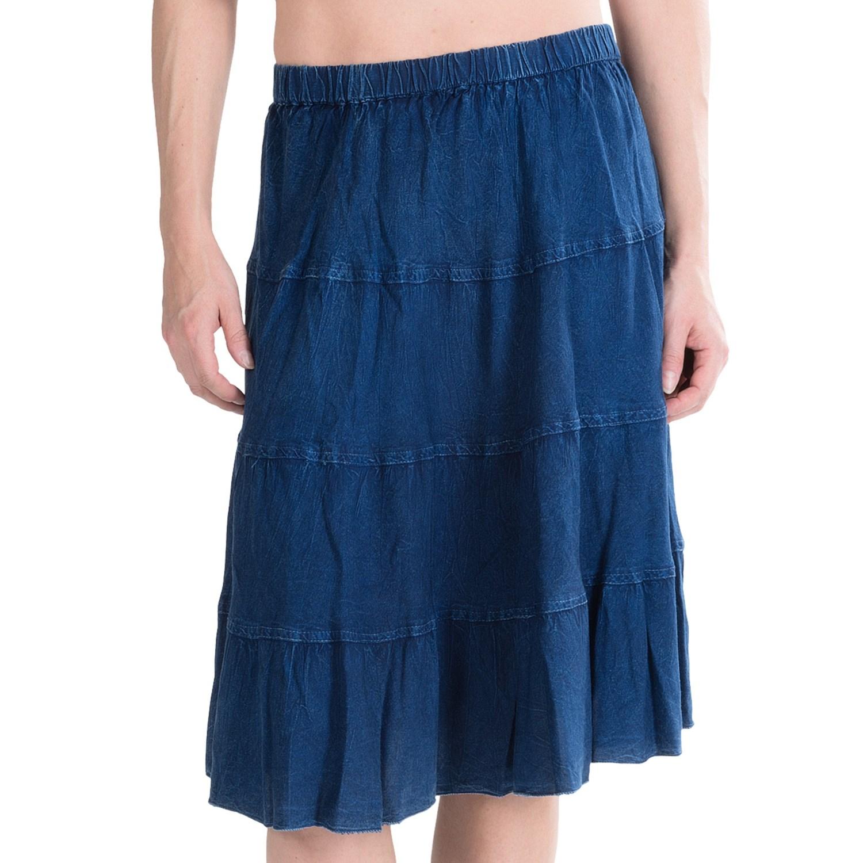 studio west denim flounce tiered skirt for save 60