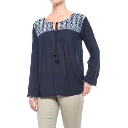 79478222272 Studio West Embroidered Neckline Peasant Top - Long Sleeve (For Women) in  Navy -