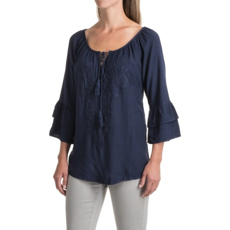 Studio West Embroidered Peasant Top - Elbow Sleeve (For Women) in Indigo