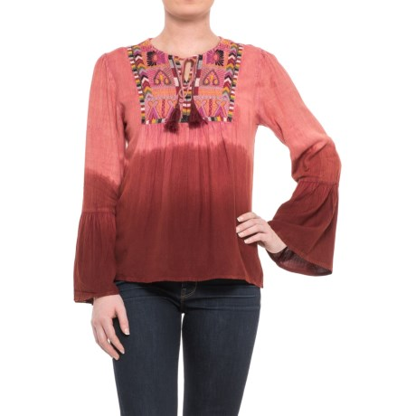 Studio West Embroidered Peasant Top - Long Sleeve (For Women) in Burgandy