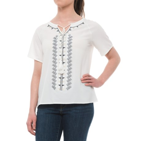 Studio West Embroidered Shirt - Short Sleeve (For Women) in White