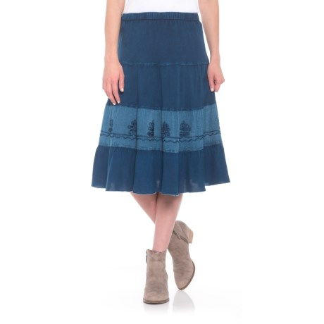 Studio West Embroidered Skirt (For Women) in Indigo